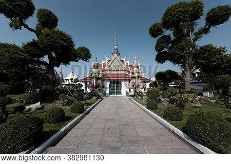 Landmark Inside Wat Arun Temple In Bangkok Thailand During Sunny Day.