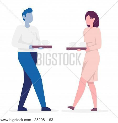 Waiter And Waitress Carries A Tray Of Coffee. Side View. Color Vector Cartoon Illustration