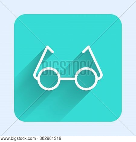 White Line Glasses Icon Isolated With Long Shadow. Eyeglass Frame Symbol. Green Square Button. Vecto