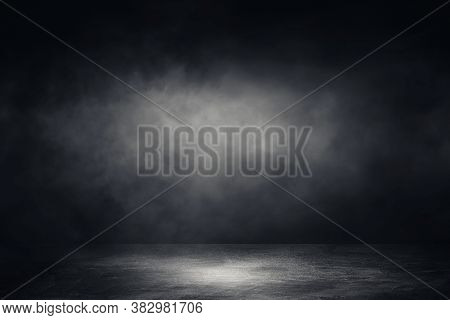 Empty Space Of Studio Dark Room Concrete Floor Grunge Texture Background With Spotlight And White Sm