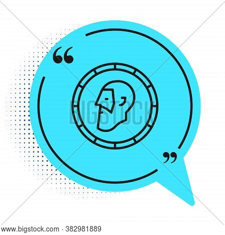Black Line Ancient Coin Icon Isolated On White Background. Blue Speech Bubble Symbol. Vector