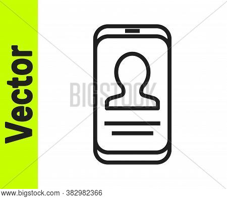 Black Line Mobile With Resume Icon Isolated On White Background. Cv Application. Searching Professio