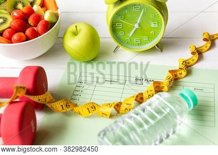 Diet Health Plan.  Nutrition Start Up Workout Planing. Sport Exercise Equipment Workout And gym Back