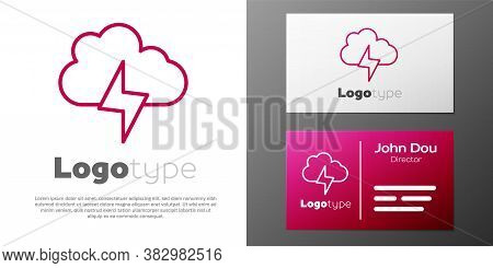 Logotype Line Storm Icon Isolated On White Background. Cloud And Lightning Sign. Weather Icon Of Sto