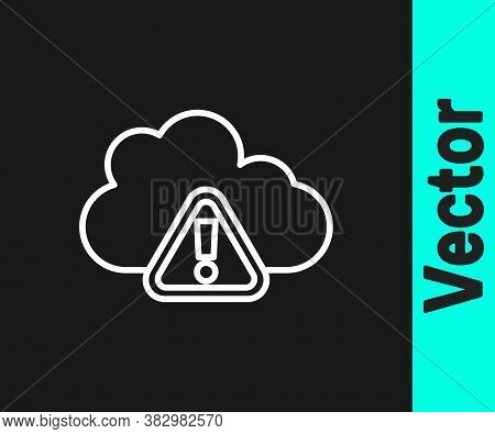 White Line Storm Warning Icon Isolated On Black Background. Exclamation Mark In Triangle Symbol. Wea