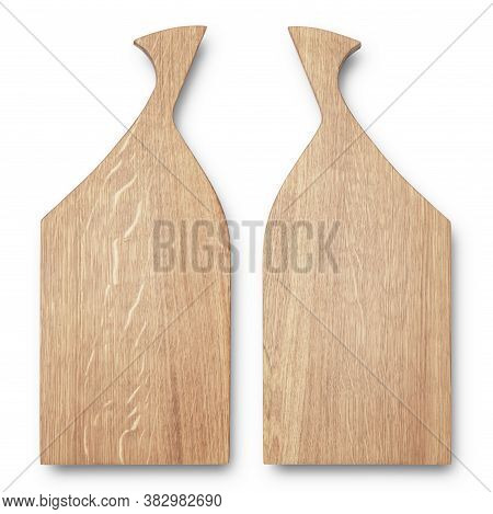 Wooden Chopping Board Top View Isolated On White Background. Texture Of Wooden Cutting Board. Two Si