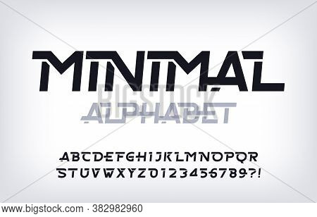 Minimal Alphabet Font. Abstract Oblique Letters And Numbers. Stock Vector Typescript For Your Typogr