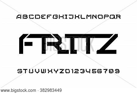 Fritz Alphabet Font. Splitter Stencil Letters And Numbers. Stock Vector Typescript For Your Typograp
