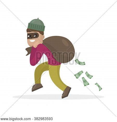 Thief  In The Mask With Bag Full Of Money. Vector Illustration.