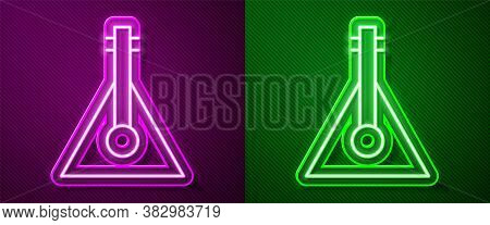 Glowing Neon Line Musical Instrument Balalaika Icon Isolated On Purple And Green Background. Vector