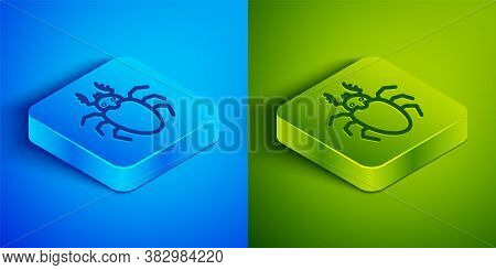 Isometric Line Beetle Deer Icon Isolated On Blue And Green Background. Horned Beetle. Big Insect. Sq