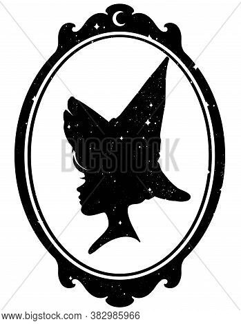 Silhouette Of Young Witch Girl In Pointy Hat In Frame