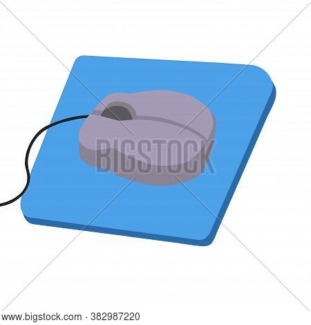 Computer Mouse With Black Cord On A Blue Mouse Pad For Working On A Computer Or Laptop In The Office