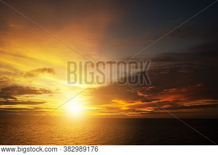 Beautiful Sunset Sky. Abstract Sky Background Of Worship Of God And Freedom Concept. Religious Belie