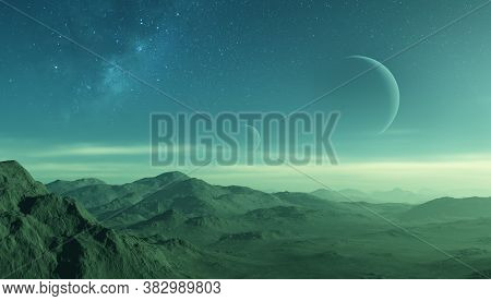 3d Rendered Space Art: Alien Planet - A Fantasy Landscape With Dark Skies, Planets And Clouds