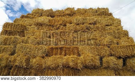 Haystack Against The Sky. Folded Straw Bales Of Hay. Square Haystack In The Open Air. Animal Feed. A