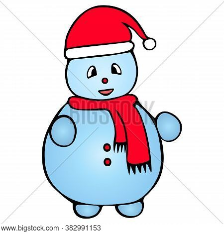 Snowman. Colored Vector Illustration. Isolated Background. Cartoon Style. Fabulous Character. Christ