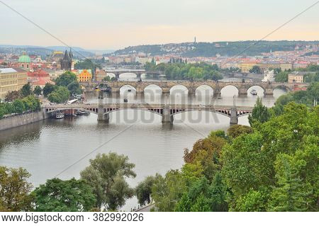 Top-view Of Prague In A Cloudy Summer Day