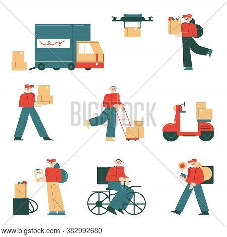 Couriers And Logistics Companies Delivering Orders And Parcels To Clients