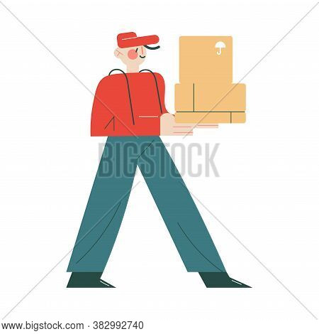 Smiling Courier In Working Uniform And Cap Delivering Order In Box To Client Home