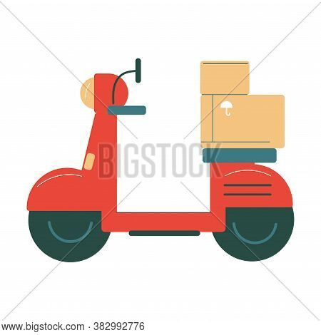 Red Bike For Delivering Orders In Boxes To Clients Homes