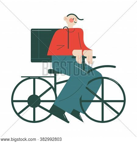 Smiling Courier In Working Uniform Delivering Orders In Boxes By Bicycle