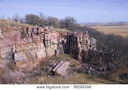 Cliffs And Prairie At Blue Mound