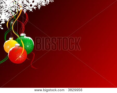 Christmas Ball  Background With Snow Flake