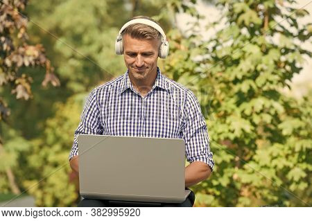 Just Me And My Computer. Handsome Man Use Computer Outdoor. Computer For Business And Gaming. Portab