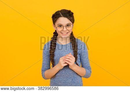 Smart Girl Bad Eyesight. Reading Better With Eyeglasses. Cute Schoolgirl. Eyeglasses For Eyes Health