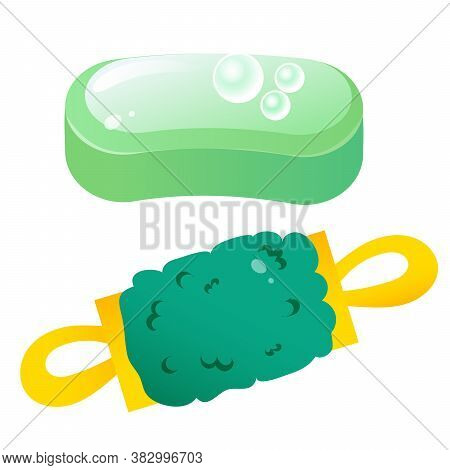 Color Image Of Soap And Washcloth On White Background. Clean And Hygiene. Vector Illustration Set.