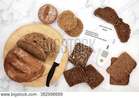 Low glycemic bread selection for diabetics with blood sugar testing monitor and corresponding food list with values. High in antioxidants, smart carbs & omega 3 fatty acids. Below 55 on the GI index.