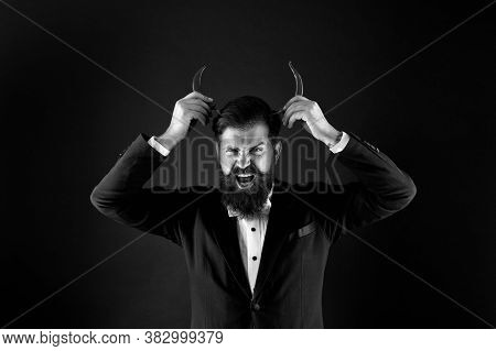 His True Essence. He Is Devil In Business. Businessman Has Red Pepper Horn. Barbershop Hell Concept.