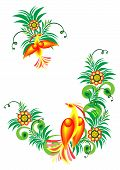 Illustration of abstract birds of paradise on floral branches poster