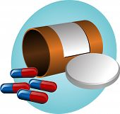Pillbox with label cap open and scattered pills. illustration poster
