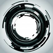 a black and white abstract camera lens poster