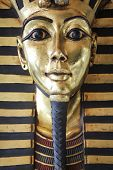 Modern copy of ancient egyptian king Tutankhamen's golden death mask poster