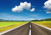 Empty road with motion blur blue sky poster