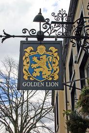 Golden Lion Pub Sign In Chester Uk