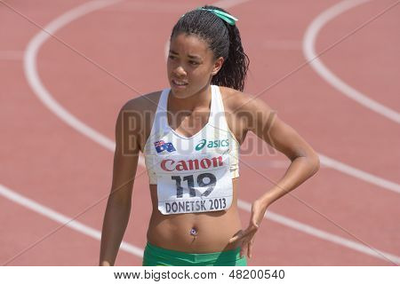 DONETSK, UKRAINE - JULY 13: Aliyah Johnson of Australia after the javelin throw competitions in Heptathlon girls during 8th IAAF World Youth Championships in Donetsk, Ukraine on July 13, 2013