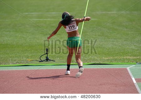 DONETSK, UKRAINE - JULY 13: Aliyah Johnson of Australia competes in the javelin throw in Heptathlon girls during 8th IAAF World Youth Championships in Donetsk, Ukraine on July 13, 2013