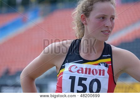 DONETSK, UKRAINE - JULY 13: Noor Vidts of Belgium competes in the javelin throw in Heptathlon girls during 8th IAAF World Youth Championships in Donetsk, Ukraine on July 13, 2013