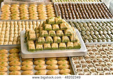 Turkish Sweets On Plates