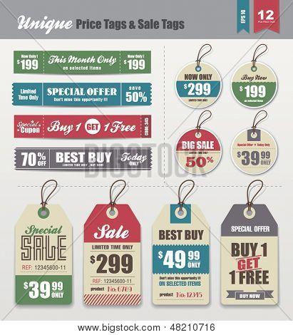 Tags venda & coleção de etiquetas de preço