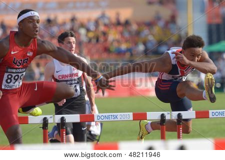 DONETSK, UKRAINE - JULY 12: Humphrey, USA (left), and Dickson-Earle, Great Britain (right), compete in 110 m hurdles during 8th IAAF World Youth Championships in Donetsk, Ukraine on July 12, 2013