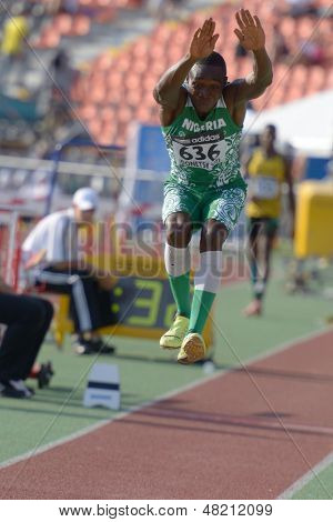 DONETSK, UKRAINE - JULY 12: Uruemu Theophilus Ejovi of Nigeria competes in the triple jump during 8th IAAF World Youth Championships in Donetsk, Ukraine on July 12, 2013