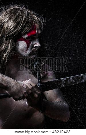 Medieval warrior fighting, medieval soldier with huge steel sword, naked