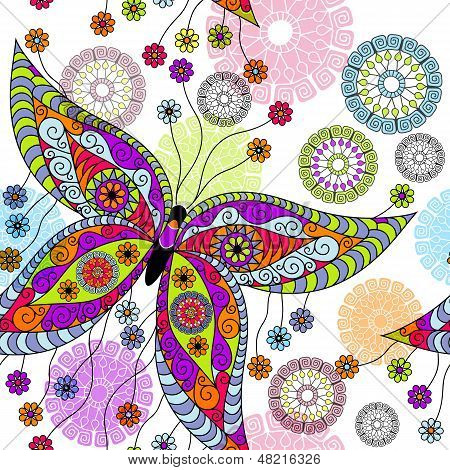 Seamless white floral spring pattern with vivid butterflies(vector eps 10) poster