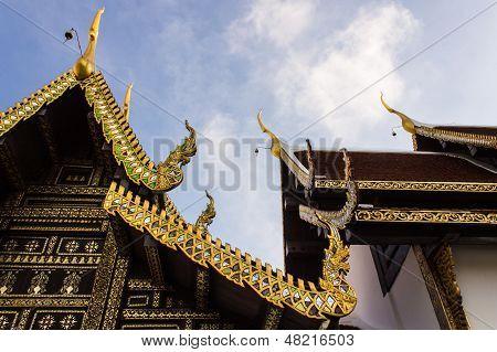 Ubosot In Wat Pra That Chomthong Vora Vihan , Chedi In Chiangmai Thailand poster