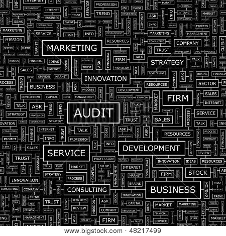 AUDIT. Concept vector illustration. Word cloud with related tags and terms. Graphic tag collection. Wordcloud collage.